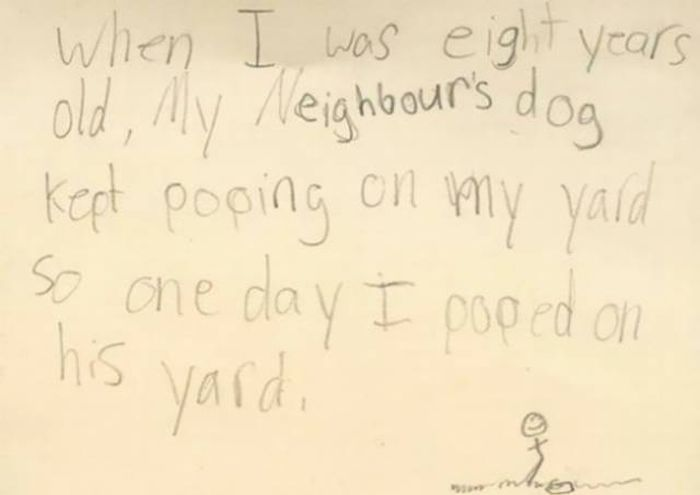 Kids Always Write Whatever The Heck Is On Their Minds