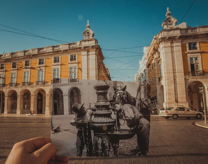 Photographer Adds Old Photos To Destinations During Their Travels