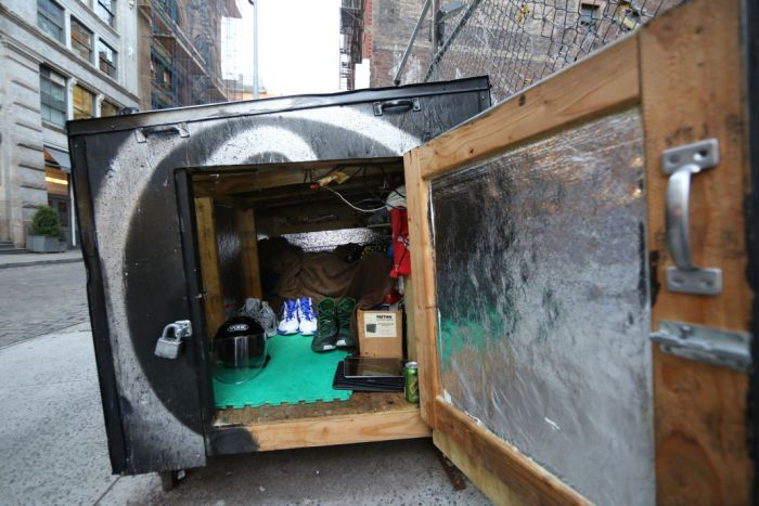 Homeless Guy Disguises His Home As A Dumpster