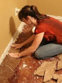Woman Updates Her Floor Using Ordinary Paper
