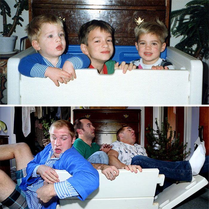 Families Recreate Classic Photos From Their Childhood
