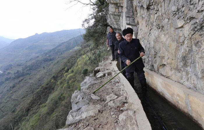Chinese Man Digs Canal To Provide Water To His Village