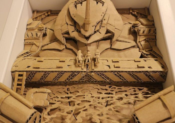 Japanese Cardboard Artist Turns Amazon Boxes Into Incredible Sculptures