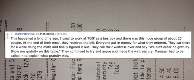 Servers Share Tales Of Customers From Hell