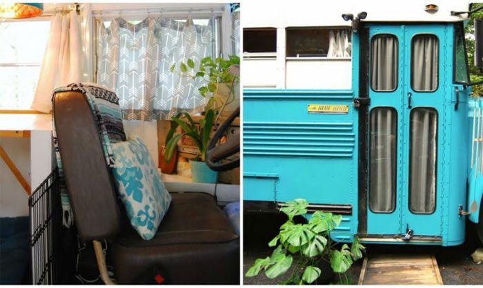 Georgia Couple Turn Old Blue Bird School Bus Into Home On Wheels