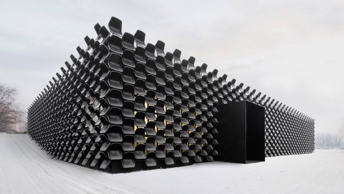 Architecture Firm Uses 900 Plastic Chairs To Build Czech Furniture Showroom