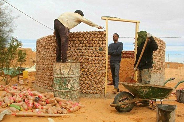 Guy Builds Houses Out Of Plastic Bottles In Algeria