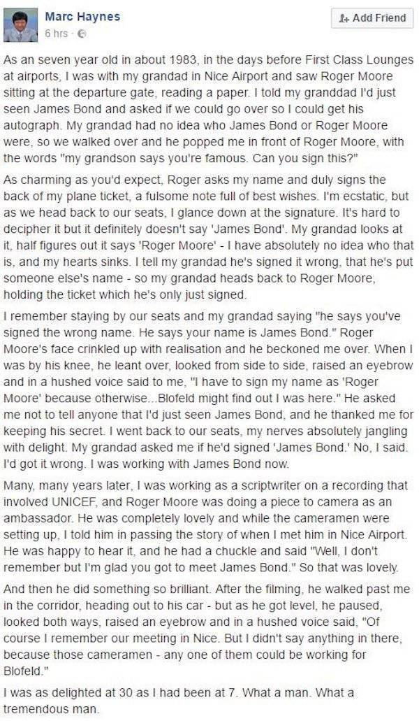 An Amazing Story About The Late Sir Roger Moore