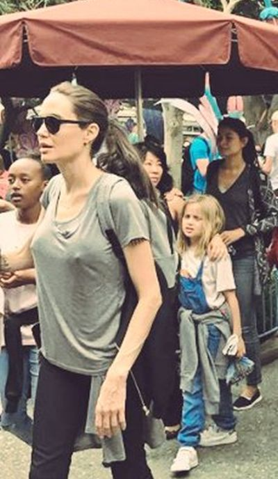 Angelina Jolie Takes The Family To Disneyland