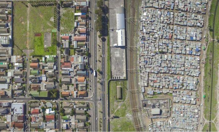 Slum Border Shows Culture Contrast
