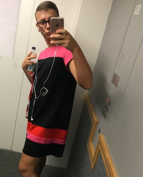 Guy Wears Dress To The Office After Being Told He Can't Wear Shorts