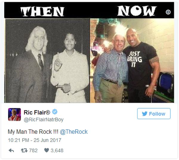 Ric Flair Posts Then And Now Photo With The Rock