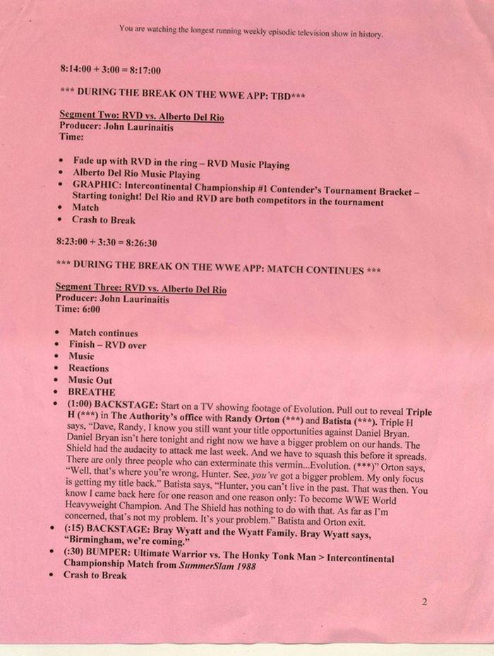 Here's What A Pro Wrestling Script Looks Like