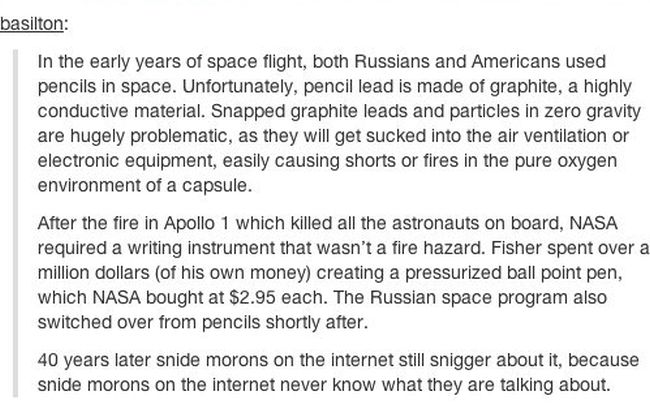 Why Pencils Aren't Used In Space