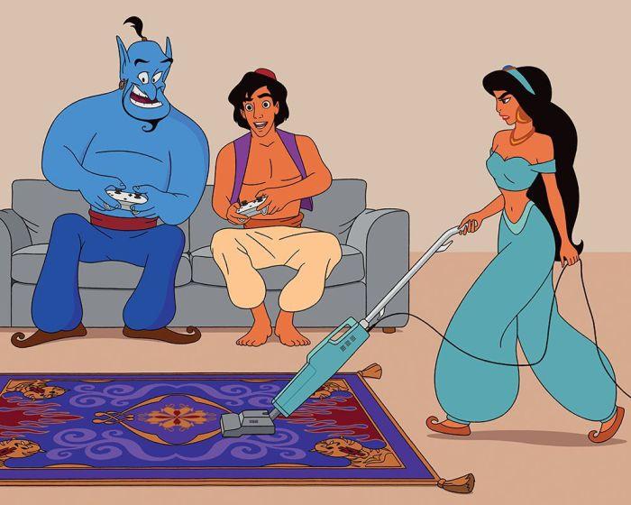 Illustrator Uses A Modern Twist To Update Disney Movies
