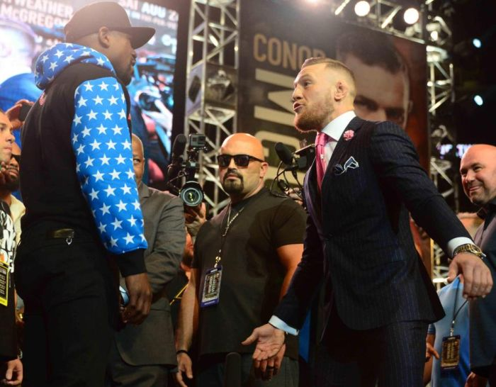 Conor McGregor Taunts Floyd Mayweather With Custom Suit