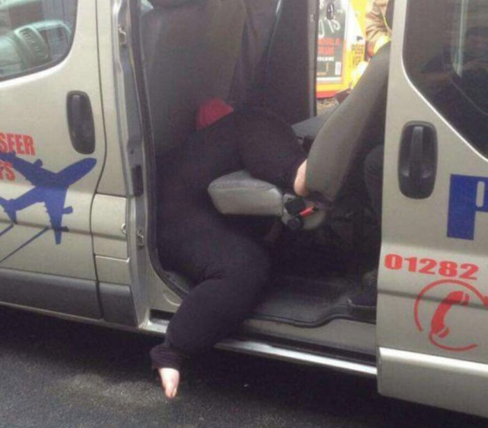 Firefighters Rescue Woman Stuck In A Taxi