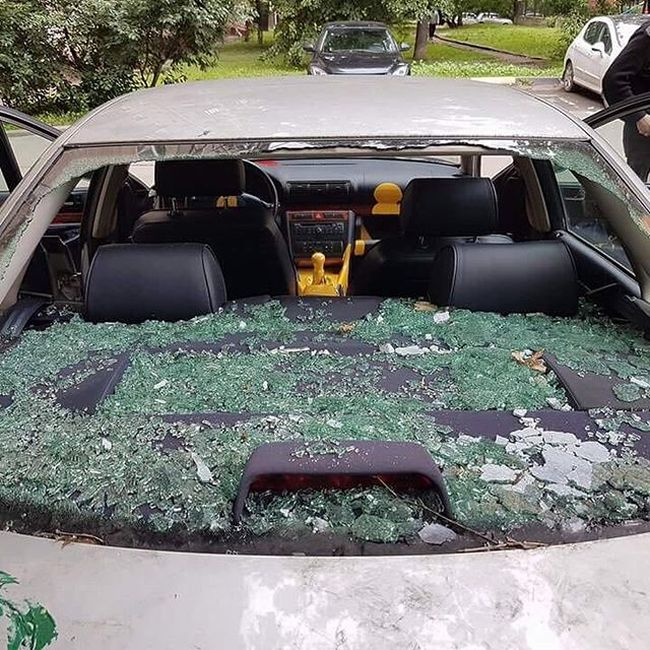 Car Destroyed By Paint Cans In Moscow