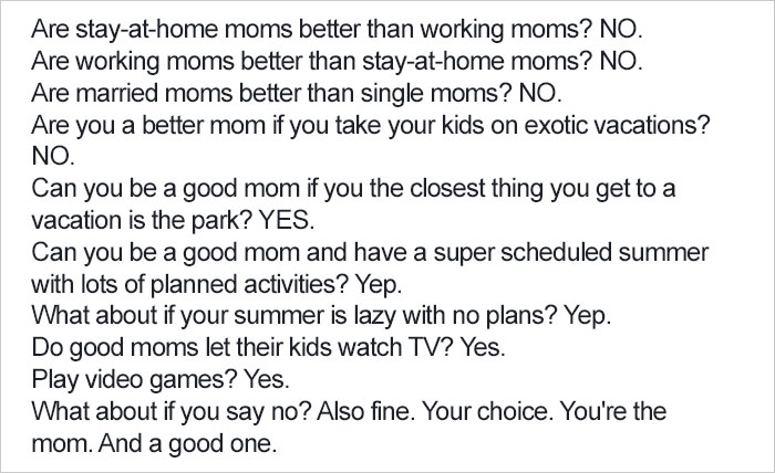 Mom's Post About Mom Shaming Wins The Internet