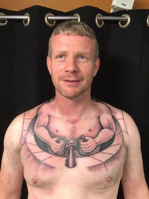 Trucker's New Chest Tattoo Gets Shared Over A Million Times On Facebook