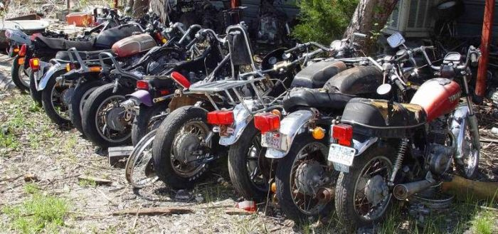 Bikes are collecting rust in this motorcycle cemetery others for Motor cycle junk yard