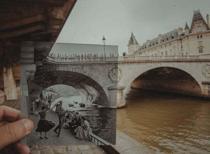 Person Matches Vintage Photographs With Modern Locations