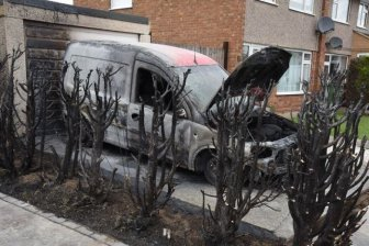 Man Destroys Neighbor's Van While Using A Blowtorch To Remove Weeds