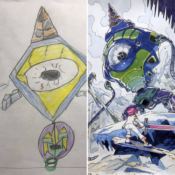 Dad Turns Son's Drawings Into Epic Anime Characters