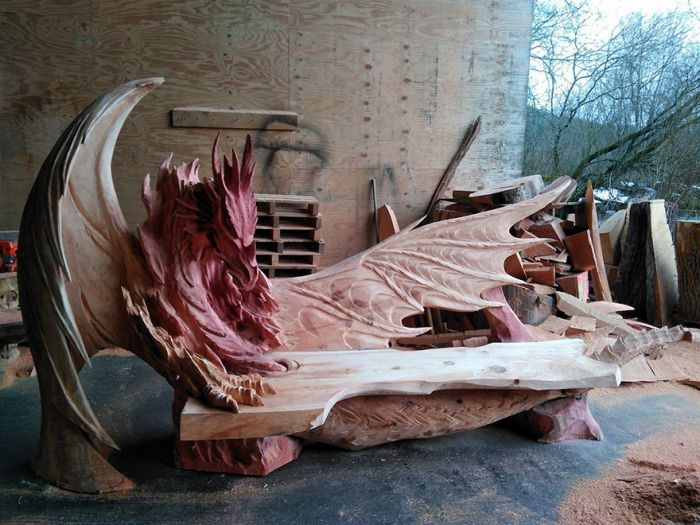 This Breathtaking Dragon Bench Was Carved Using A Chainsaw