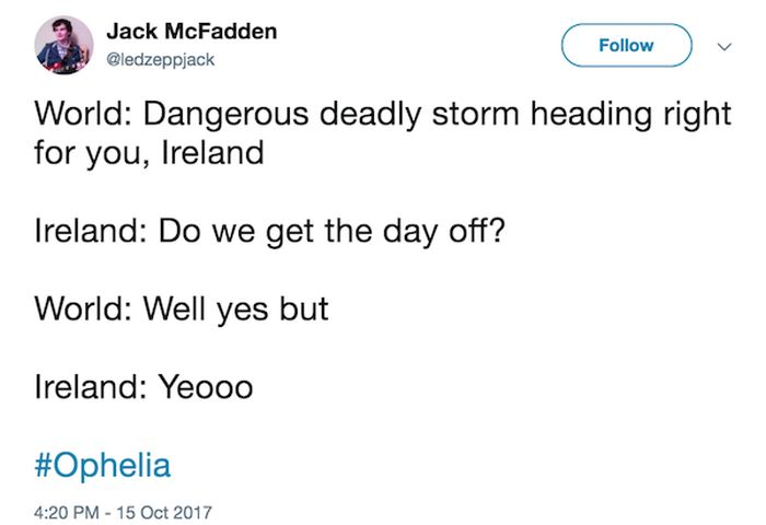 Irish People Can't Take Storm Ophelia Seriously