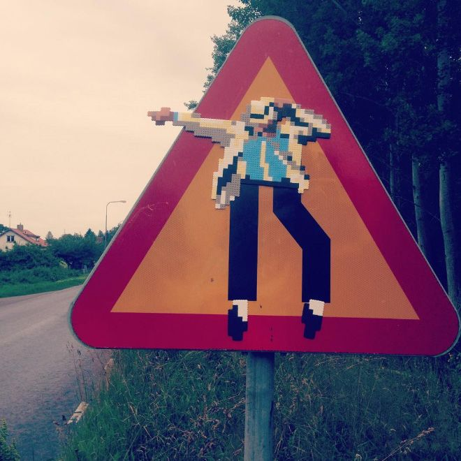 Artist Johan Karlgren Vandalizes Streets With Brilliant Pixel Art