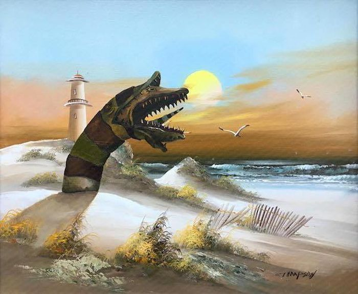 Artist Transforms Thrift Store Paintings With Pop Culture References