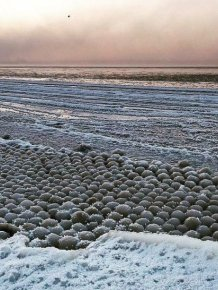 Ice Balls On The Coast Of The Gulf Of Finland