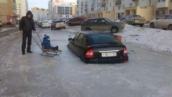 Car Stuck In Ice In Russia