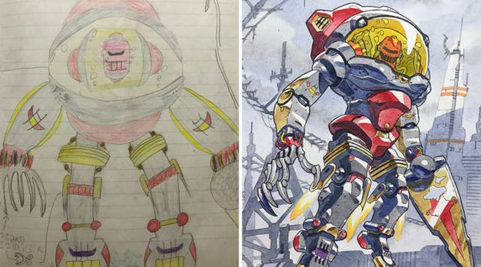 Dad Takes His Ideas For Comics From His Son's Drawings