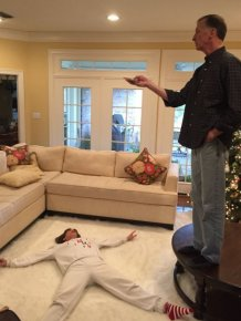True Love. Man Rearranges The Living Room So His Wife Can Make Snow Angel Boomerangs For Her 29 Instagram Followers