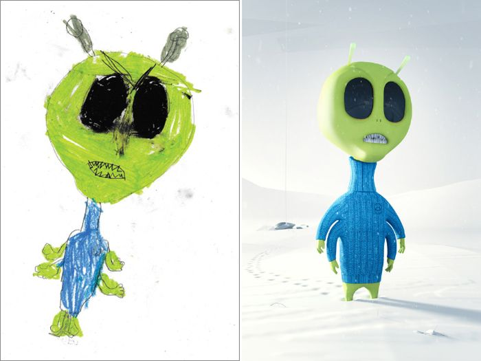 Kids' Monster Doodles Recreated by Professional Artists