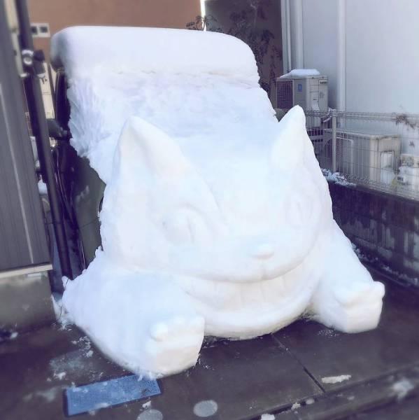 Snow Sculptures In Tokyo