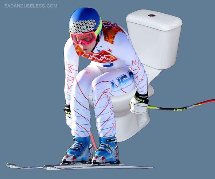 Olympic Skiers Photoshopped Onto Toilets