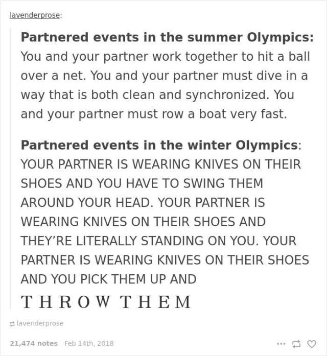 Funny Stuff About Winter Olympics