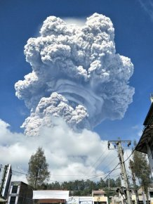 The Eruption Of The Volcano Sinabung On The Indonesian Island Of Sumatra
