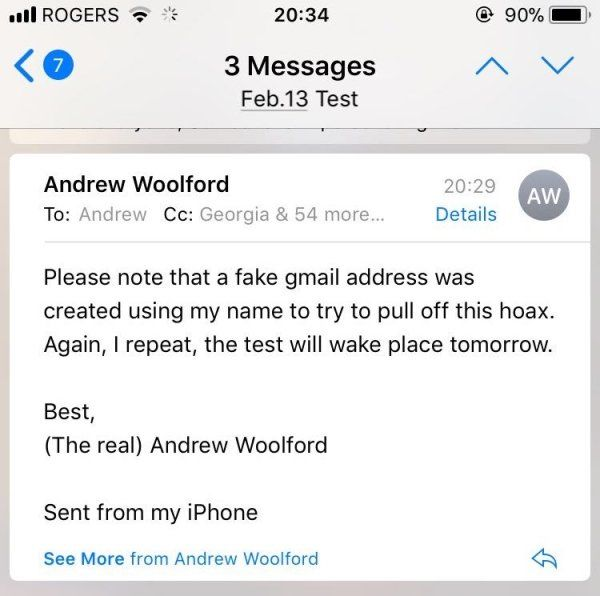 College Student Fakes Teacher's Email To Avoid Test