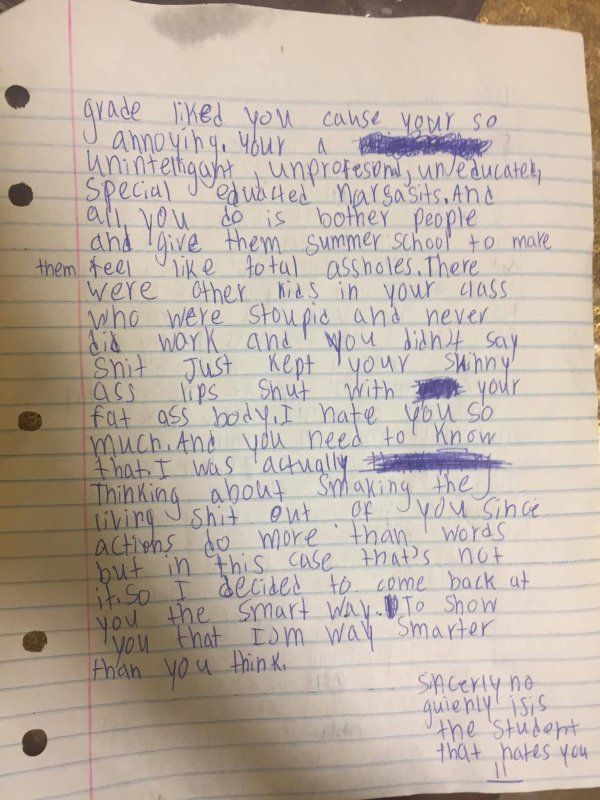 Student Brutally Roasted Her 5th-Grade Teacher