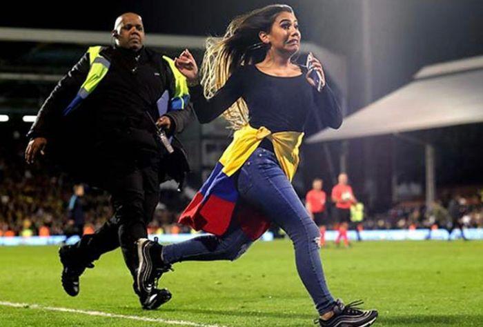 Girl Interrupts Colombia vs Australia Game