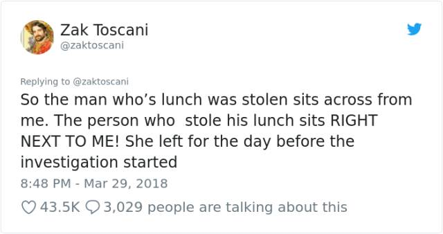 An Incredibly Dramatic Story About Lunch Being Stolen From An Office Fridge