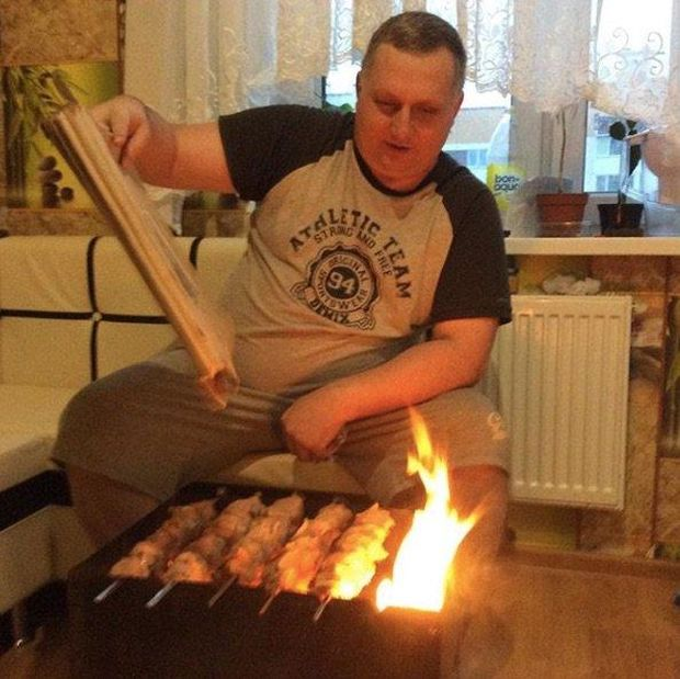 Coking Shish Kebabs On The Grill In The Apartment