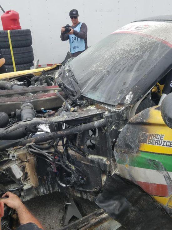 Formula Drift Ferrari Catches Fire On Debut