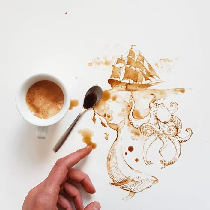 Amazing Art With Coffee And Tea