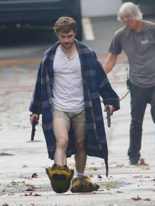 "Daniel Radcliffe On The Set Of ""Guns Akimbo"" Movie"
