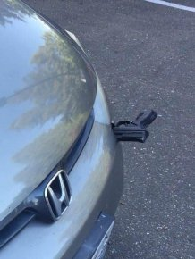 Flying Gun Hits A Car On I-5